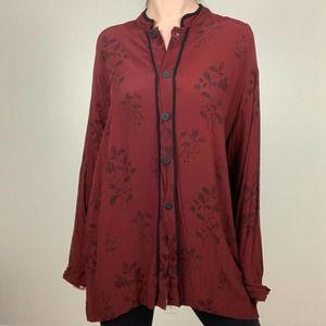 Chico's Design Red Milkweed Pagoda Tunic